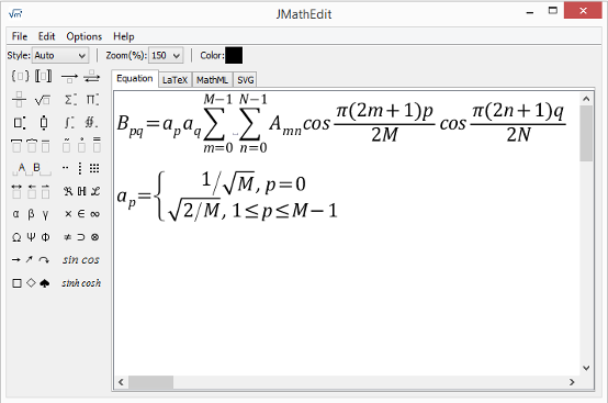 JMathEdit Equation Editor for Desktop Systems